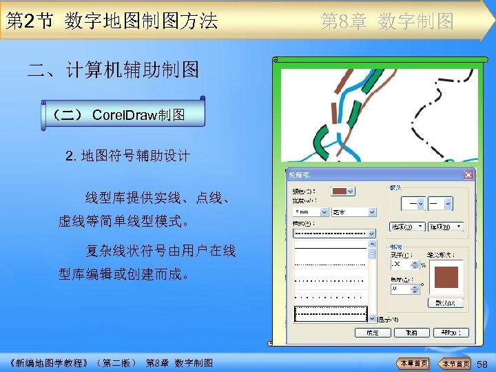 第 2节 数字地图制图方法 第 8章 数字制图 二、计算机辅助制图 (二) Corel. Draw制图 2. 地图符号辅助设计 线型库提供实线、点线、 虚线等简单线型模式。