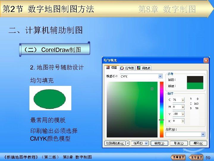 第 2节 数字地图制图方法 第 8章 数字制图 二、计算机辅助制图 (二) Corel. Draw制图 2. 地图符号辅助设计 均匀填充 最常用的模板