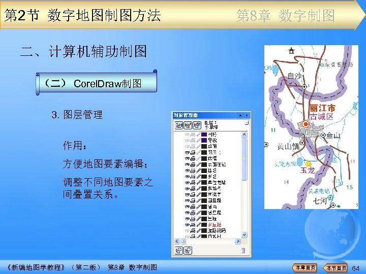 第 2节 数字地图制图方法 第 8章 数字制图 二、计算机辅助制图 (二) Corel. Draw制图 3. 图层管理 作用: 方便地图要素编辑;