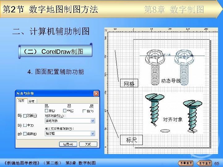 第 2节 数字地图制图方法 第 8章 数字制图 二、计算机辅助制图 (二) Corel. Draw制图 4. 图面配置辅助功能 网格 动态导线