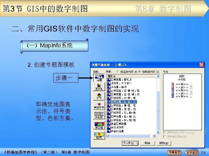 第 3节 GIS中的数字制图 第 8章 数字制图 二、常用GIS软件中数字制图的实现 (一)Map. Info系统 2. 创建专题图模板 步骤一 即确定地图表 示法、符号类