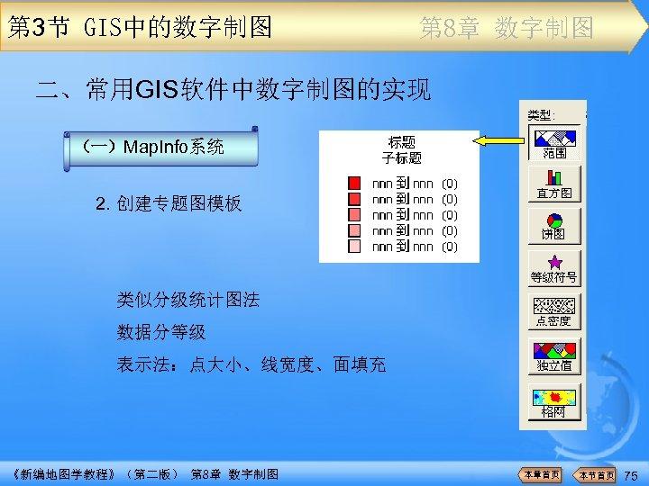 第 3节 GIS中的数字制图 第 8章 数字制图 二、常用GIS软件中数字制图的实现 (一)Map. Info系统 2. 创建专题图模板 类似分级统计图法 数据分等级 表示法:点大小、线宽度、面填充