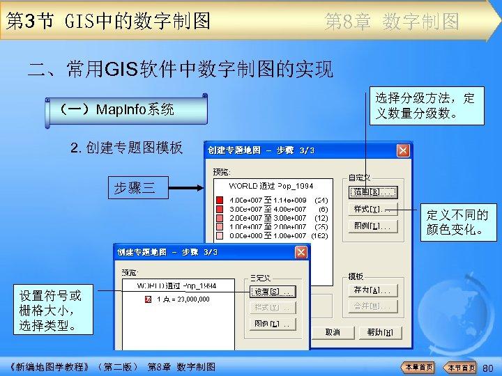 第 3节 GIS中的数字制图 第 8章 数字制图 二、常用GIS软件中数字制图的实现 (一)Map. Info系统 选择分级方法,定 义数量分级数。 2. 创建专题图模板 步骤三