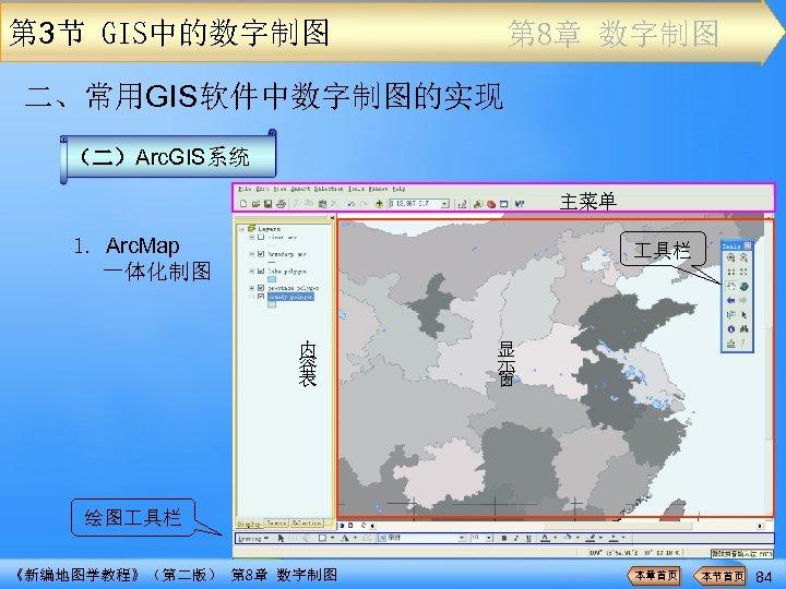 第 3节 GIS中的数字制图 第 8章 数字制图 二、常用GIS软件中数字制图的实现 (二)Arc. GIS系统 主菜单 1. Arc. Map 一体化制图