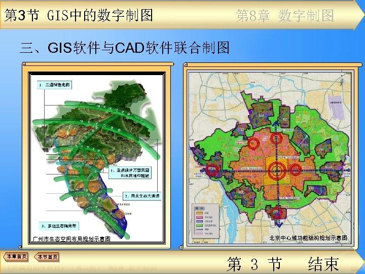 第 3节 GIS中的数字制图 第 8章 数字制图 三、GIS软件与CAD软件联合制图 广州市生态空间布局规划示意图 本章首页 本节首页 《新编地图学教程》(第二版) 第 8章 数字制图
