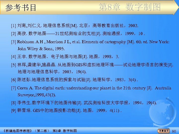 参考书目 第 8章 数字制图 [1] 刘南, 刘仁义. 地理信息系统[M]. 北京:高等教育出版社,2002. [2] 高俊. 数字地图—— 21世纪测绘业的支柱[J]. 测绘通报,1999,10.