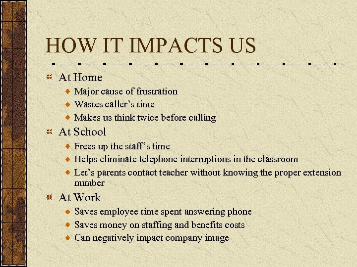 HOW IT IMPACTS US At Home Major cause of frustration Wastes caller's time Makes