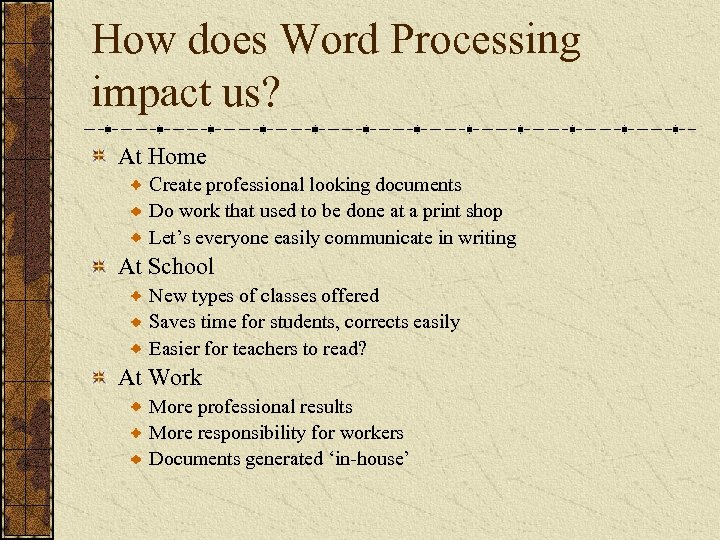 How does Word Processing impact us? At Home Create professional looking documents Do work