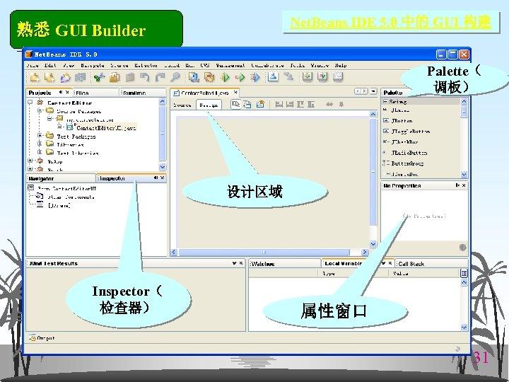 Net. Beans IDE 5. 0 中的 GUI 构建 熟悉 GUI Builder Palette( 调板) 设计区域