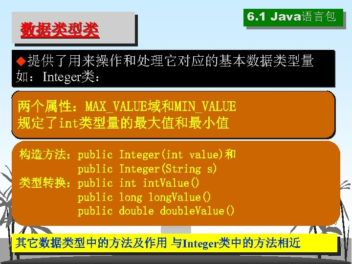 6. 1 Java语言包 数据类型类 ◆提供了用来操作和处理它对应的基本数据类型量 如:Integer类: 两个属性:MAX_VALUE域和MIN_VALUE 规定了int类型量的最大值和最小值 构造方法:public 类型转换:public Integer(int value)和 Integer(String s)