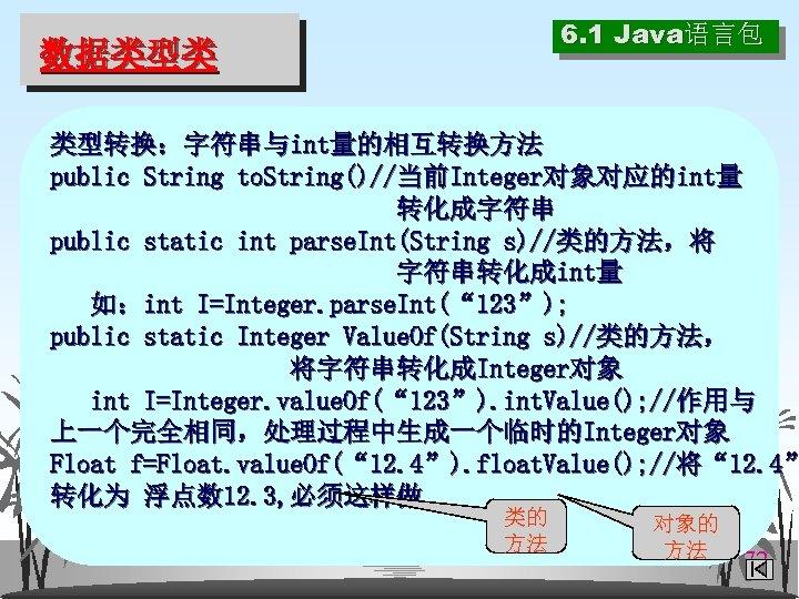6. 1 Java语言包 数据类型类 类型转换:字符串与int量的相互转换方法 public String to. String()//当前Integer对象对应的int量 转化成字符串 public static int parse.