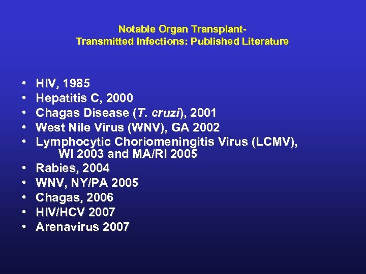 Notable Organ Transplant. Transmitted Infections: Published Literature • • • HIV, 1985 Hepatitis C,