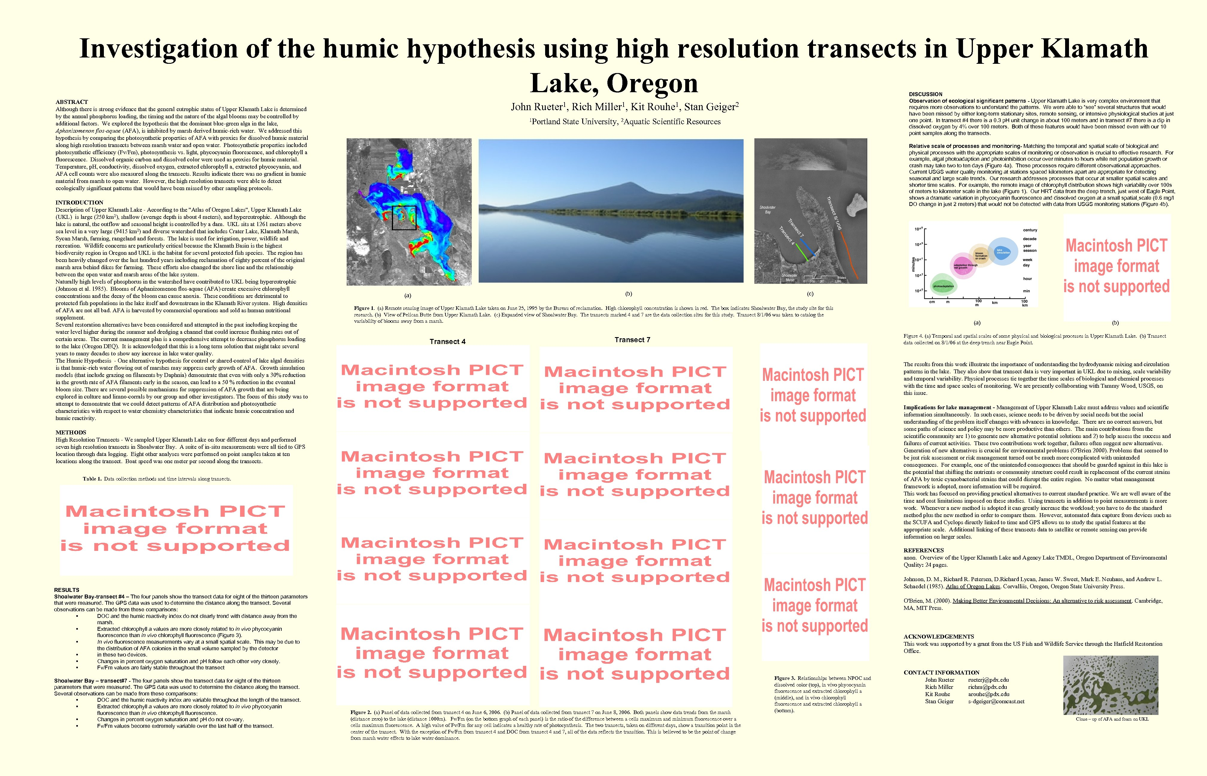 Investigation of the humic hypothesis using high resolution transects in Upper Klamath Lake, Oregon