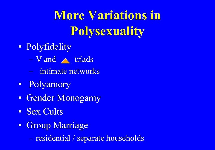More Variations in Polysexuality • Polyfidelity – V and triads – intimate networks •