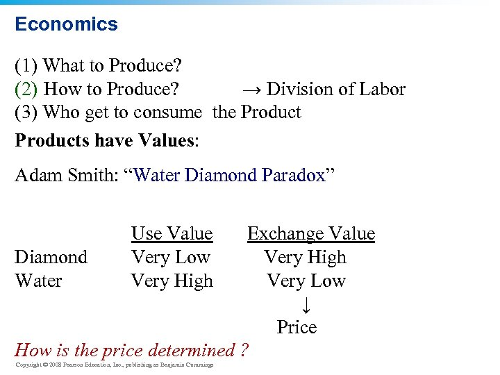 Economics (1) What to Produce? (2) How to Produce? → Division of Labor (3)