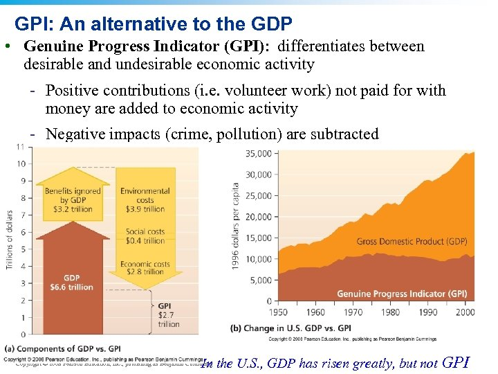 GPI: An alternative to the GDP • Genuine Progress Indicator (GPI): differentiates between desirable