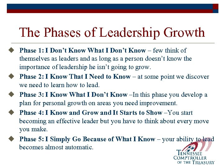 The Phases of Leadership Growth u Phase 1: I Don't Know What I Don't