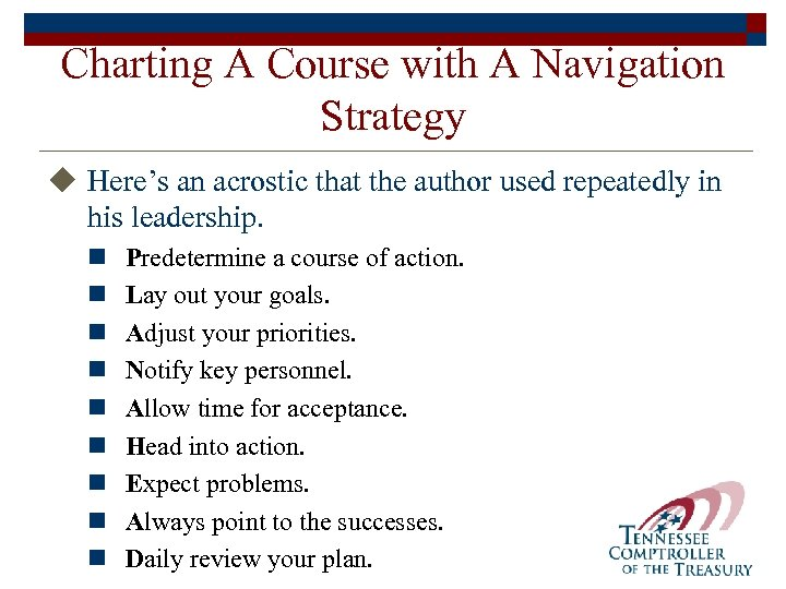 Charting A Course with A Navigation Strategy u Here's an acrostic that the author