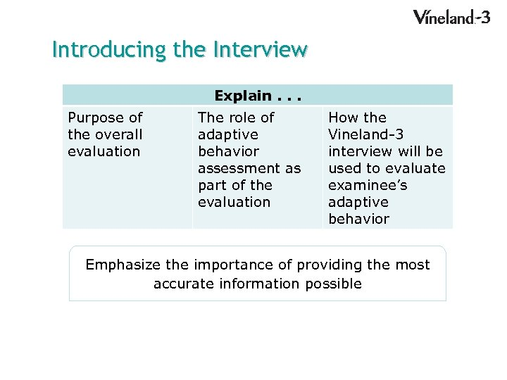 Introducing the Interview Explain. . . Purpose of the overall evaluation The role of