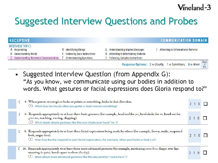 """Suggested Interview Questions and Probes • Suggested Interview Question (from Appendix G): """"As you"""