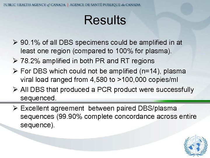 Results Ø 90. 1% of all DBS specimens could be amplified in at least