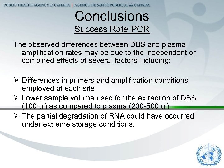 Conclusions Success Rate-PCR The observed differences between DBS and plasma amplification rates may be
