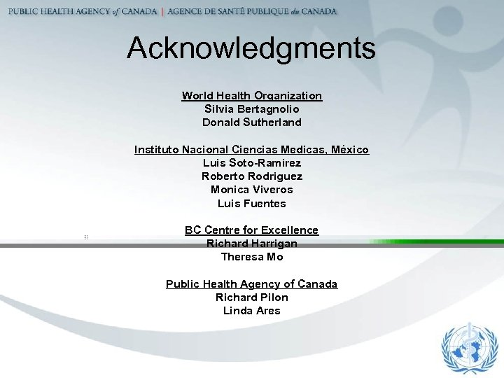Acknowledgments World Health Organization Silvia Bertagnolio Donald Sutherland Instituto Nacional Ciencias Medicas, México Luis