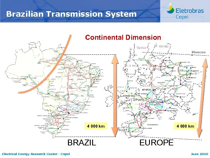 Brazilian Transmission System Continental Dimension 4 000 km BRAZIL Electrical Energy Research Center -