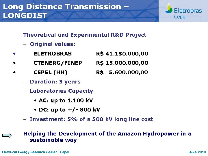 Long Distance Transmission – LONGDIST Theoretical and Experimental R&D Project – Original values: •