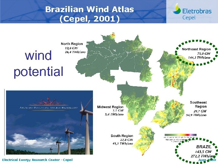 Brazilian Wind Atlas (Cepel, 2001) wind potential Electrical Energy Research Center - Cepel June