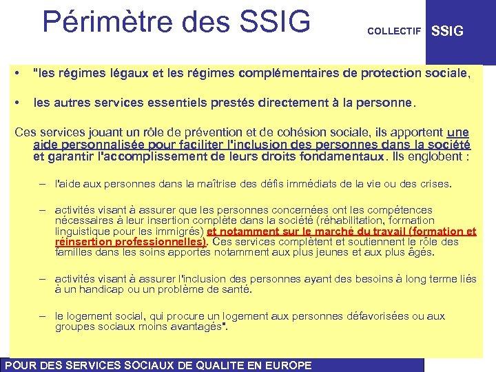 Périmètre des SSIG COLLECTIF SSIG •