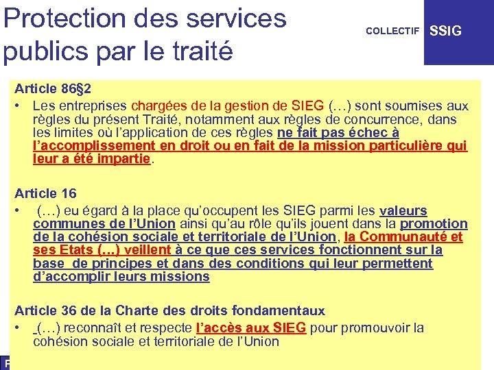 Protection des services publics par le traité COLLECTIF SSIG Article 86§ 2 • Les