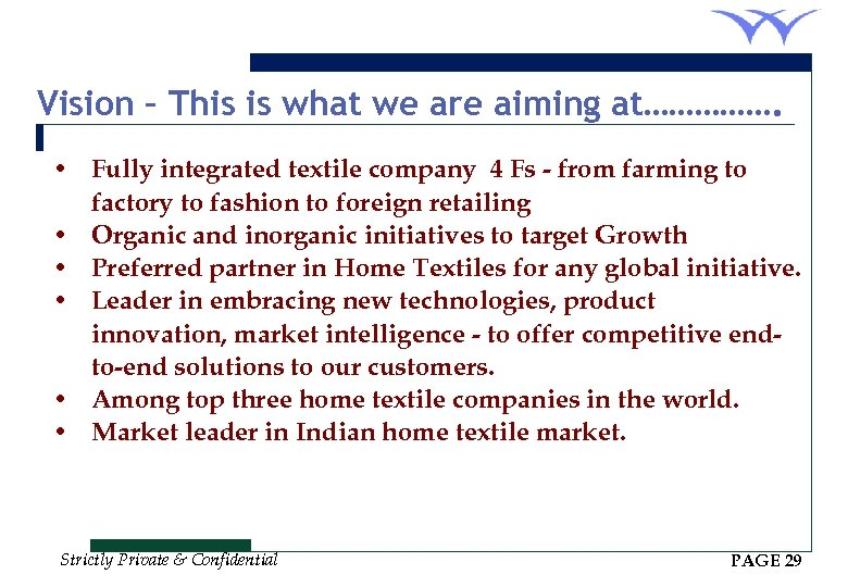 Vision – This is what we are aiming at……………. • Fully integrated textile company