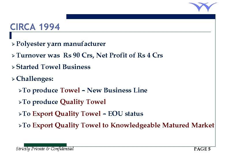 CIRCA 1994 Ø Polyester yarn manufacturer Ø Turnover was Rs 90 Crs, Net Profit