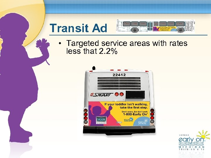 Transit Ad • Targeted service areas with rates less that 2. 2%