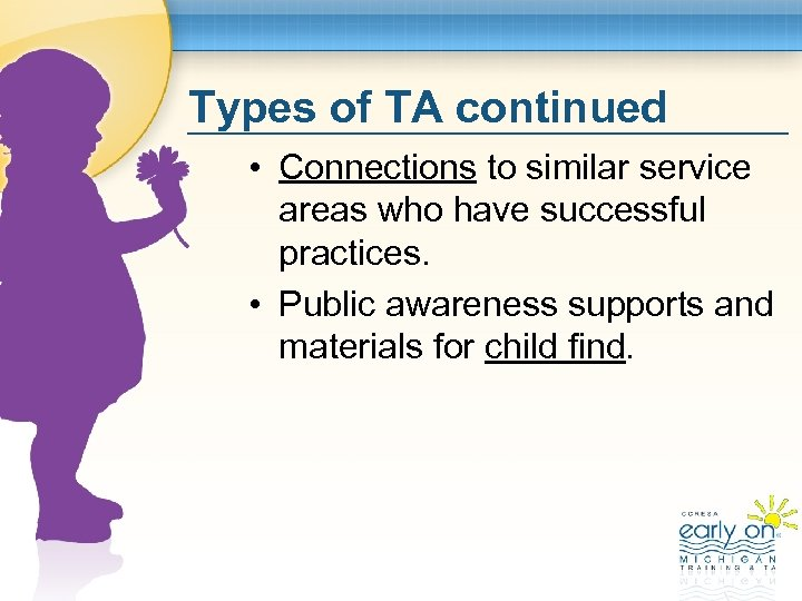 Types of TA continued • Connections to similar service areas who have successful practices.