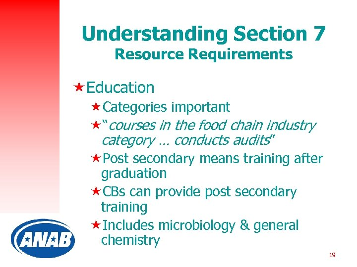 """Understanding Section 7 Resource Requirements «Education «Categories important «""""courses in the food chain industry"""