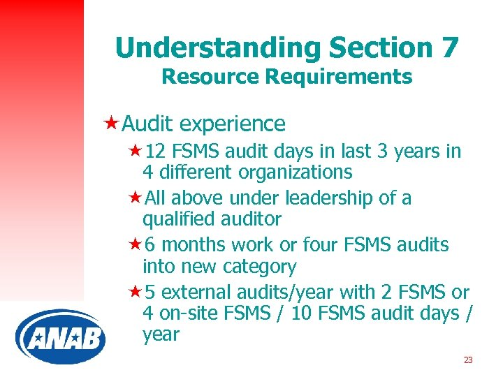 Understanding Section 7 Resource Requirements «Audit experience « 12 FSMS audit days in last