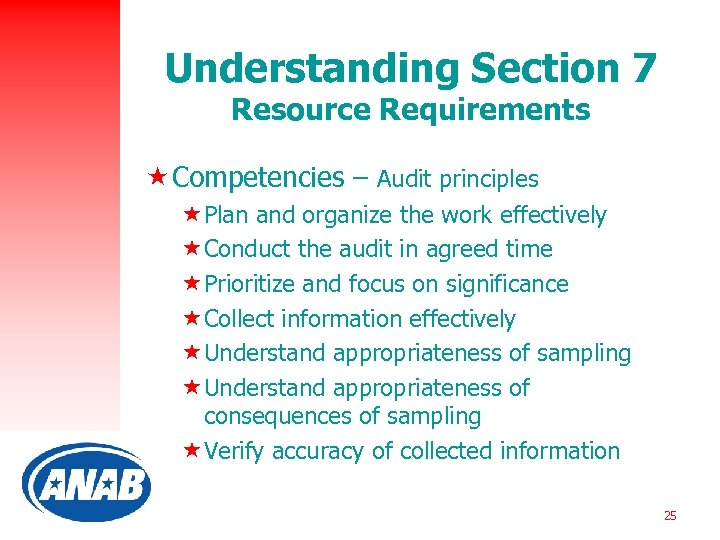 Understanding Section 7 Resource Requirements « Competencies – Audit principles «Plan and organize the