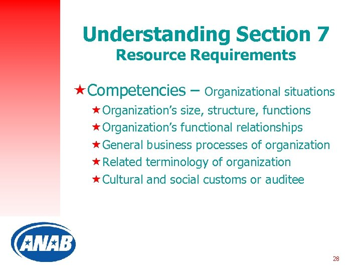 Understanding Section 7 Resource Requirements «Competencies – Organizational situations «Organization's size, structure, functions «Organization's