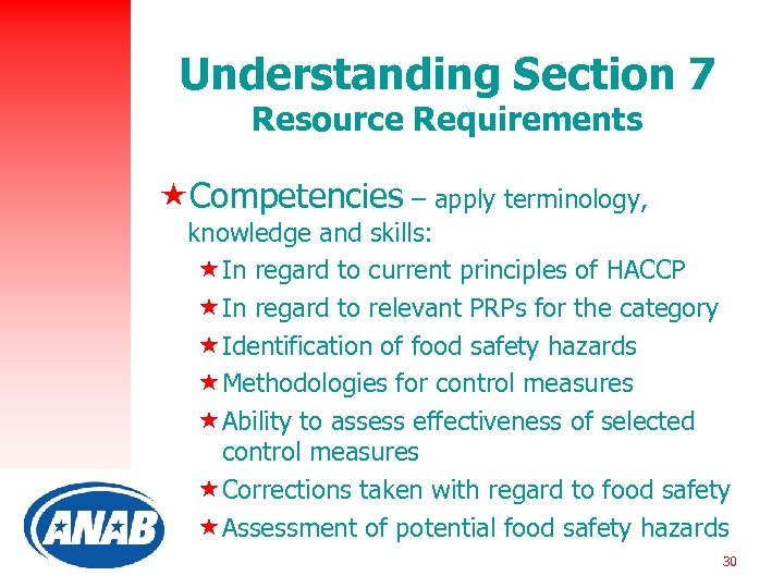 Understanding Section 7 Resource Requirements «Competencies – apply terminology, knowledge and skills: «In regard