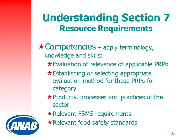 Understanding Section 7 Resource Requirements «Competencies – apply terminology, knowledge and skills: «Evaluation of