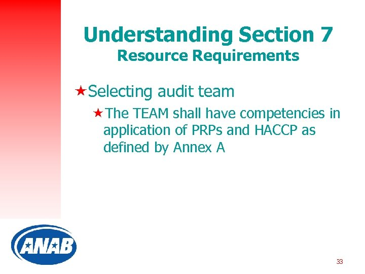 Understanding Section 7 Resource Requirements «Selecting audit team «The TEAM shall have competencies in