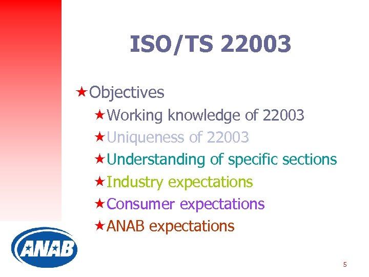 ISO/TS 22003 «Objectives «Working knowledge of 22003 «Uniqueness of 22003 «Understanding of specific sections