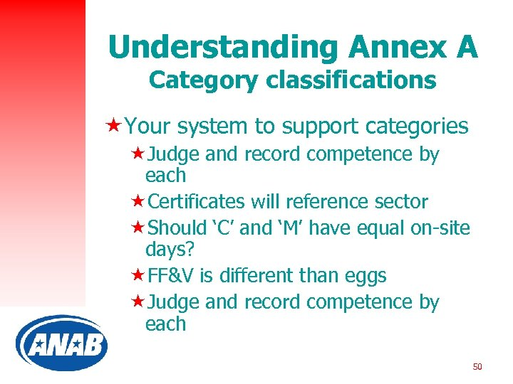 Understanding Annex A Category classifications «Your system to support categories «Judge and record competence