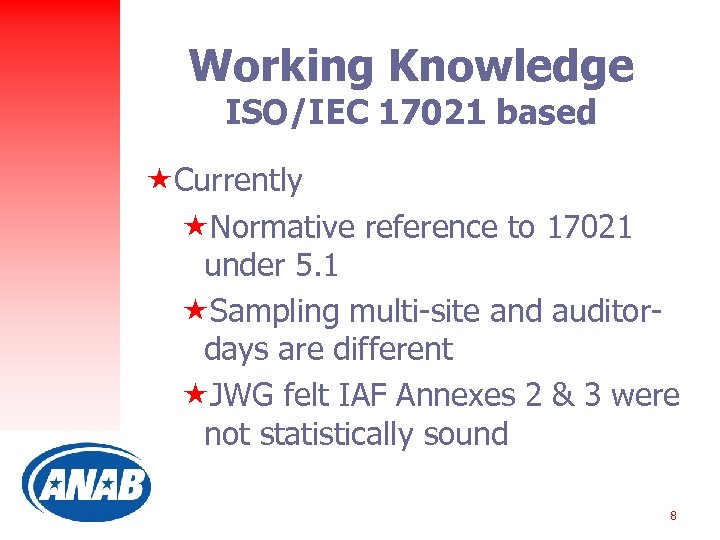 Working Knowledge ISO/IEC 17021 based «Currently «Normative reference to 17021 under 5. 1 «Sampling