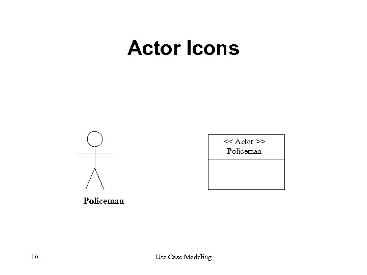 Actor Icons << Actor >> Policeman 10 Use Case Modeling