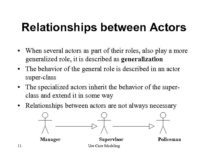 Relationships between Actors • When several actors as part of their roles, also play