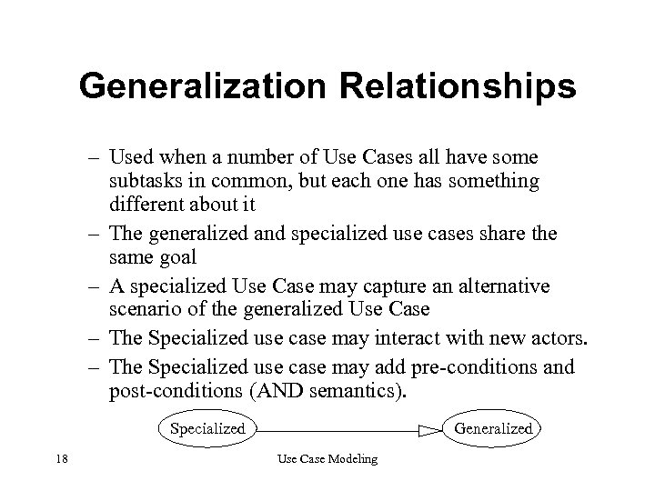 Generalization Relationships – Used when a number of Use Cases all have some subtasks