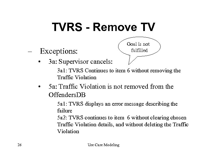 TVRS - Remove TV Goal is not fulfilled – Exceptions: • 3 a: Supervisor